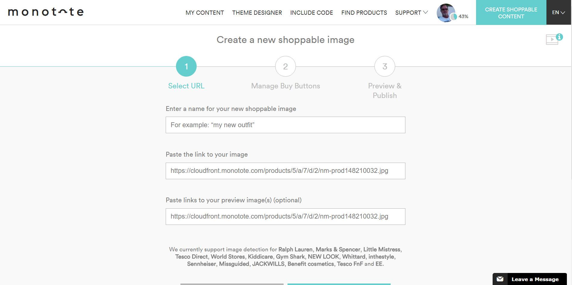 Monotote dashboard add image content