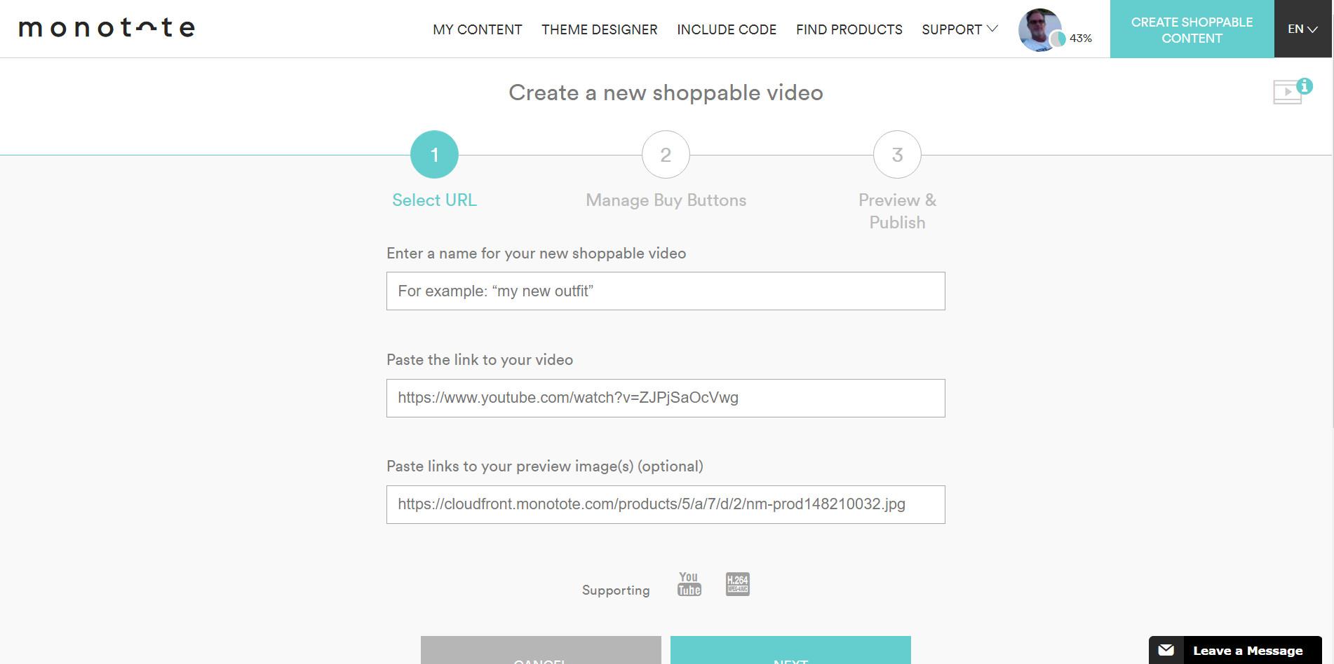 Monotote dashboard add video content