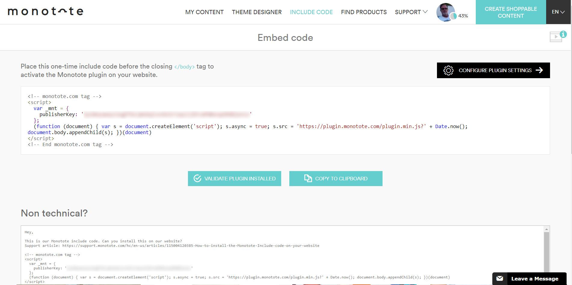 Monotote dashboard embed code